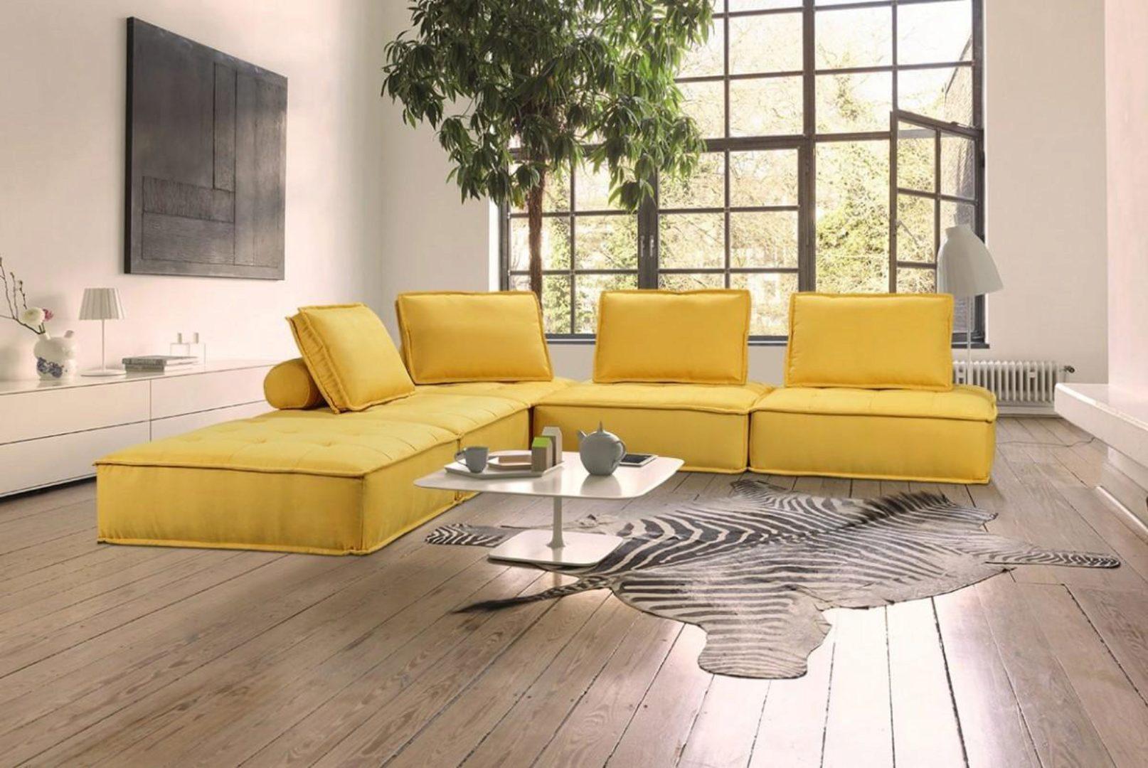 yellow fabric modular sectional sofa vig divani casa nolden modern contemporary
