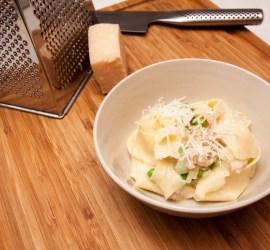 Pasta carbonara på färsk pasta