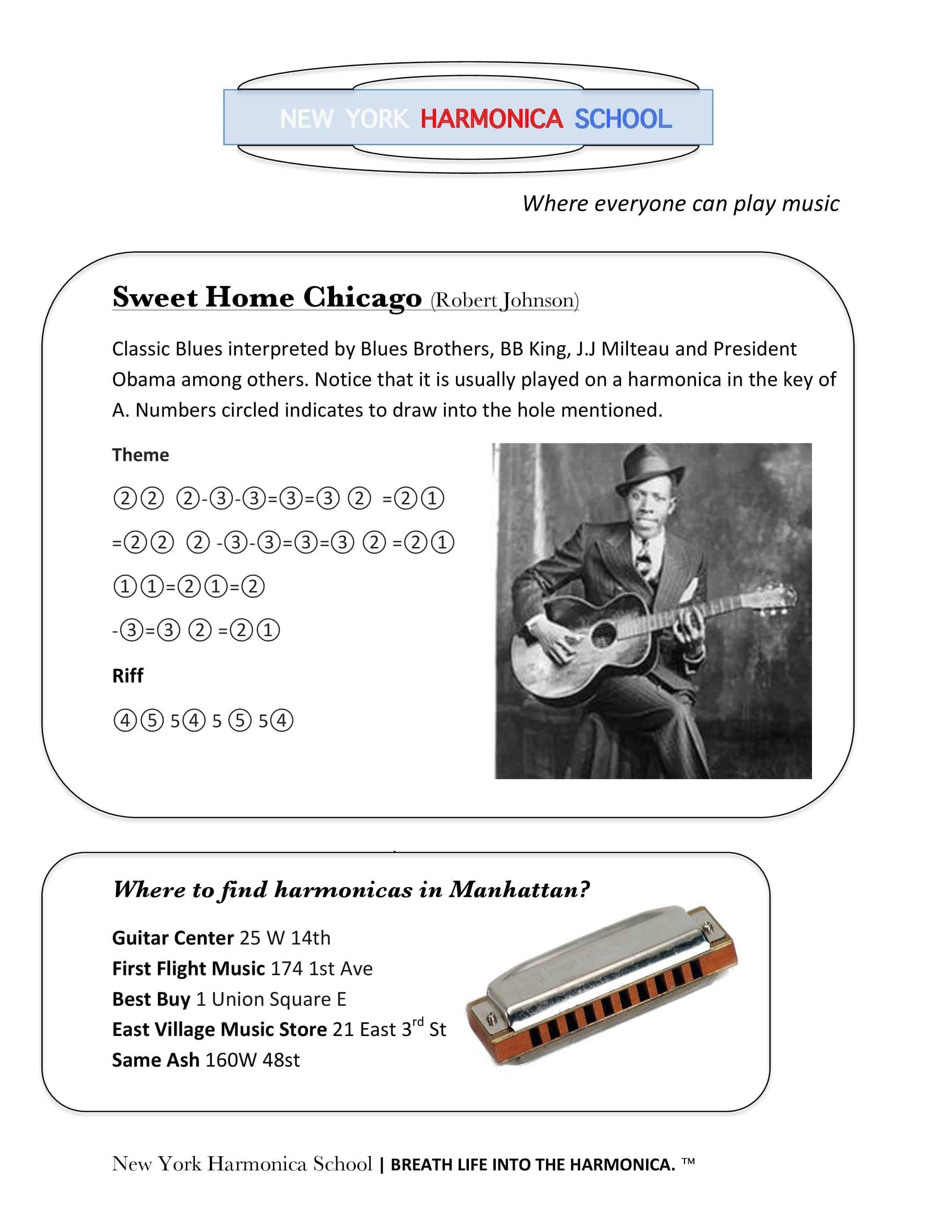 Originally by the blues legend robert johnson (definitely one to. Sweet Home Chicago Diatonic Harmonica New York Harmonica School