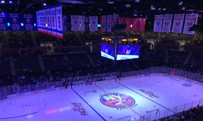 The New York Islanders logo at Nassau Coliseum