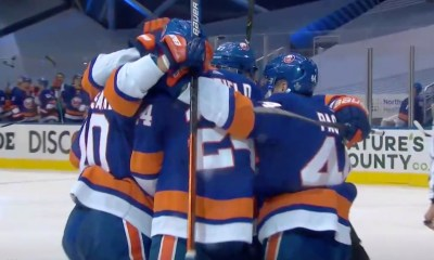 New York Islanders celebrate goal