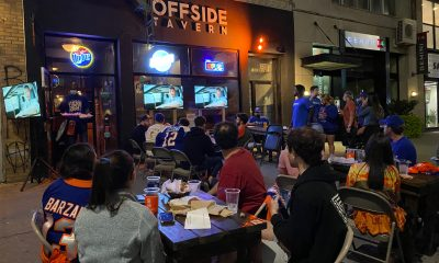 New York Islanders fans watch Game 3 at Offside Tavern in New York City
