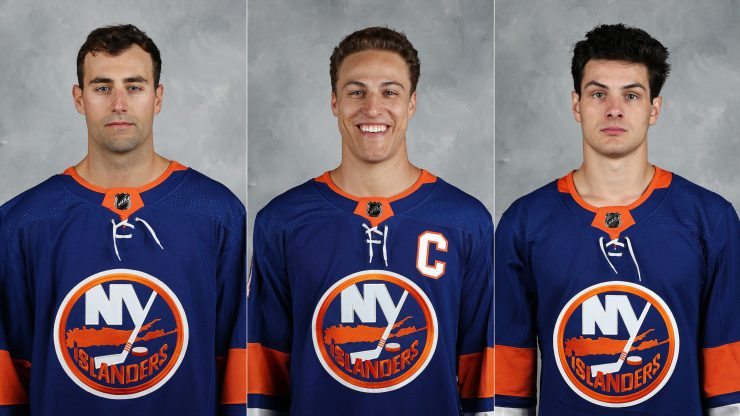 Jordan Eberle, Anders Lee and Mat Barzal