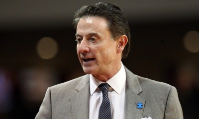 CHESTNUT HILL, MA - FEBRUARY 04: Louisville Cardinals head coach Rick Pitino during the first half of a college basketball game between Louisville Cardinals and Boston College Eagles on February 4, 2017, at Conte Forum in Chestnut Hill, MA. Louisville defeated Boston College 90-67. (Photo by M. Anthony Nesmith/Icon Sportswire)