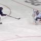 Semyon Varlamov makes a save on Artemi Panarin