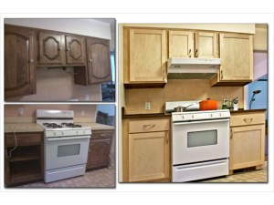 Kitchen is refaced  with an updated look.