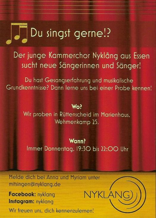 Der junge Kammerchor Nyklång sucht neue Sängerinnen und Sänger!  Du hast Gesangserfahrung und musikalische Grundkenntnisse?  Dann lerne uns bei einer Probe kennen.