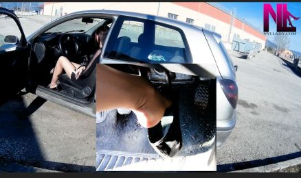 nasty-revving-in-black-patent-dirty-flats-and-nude-pantyhose_tube-exhaust-view