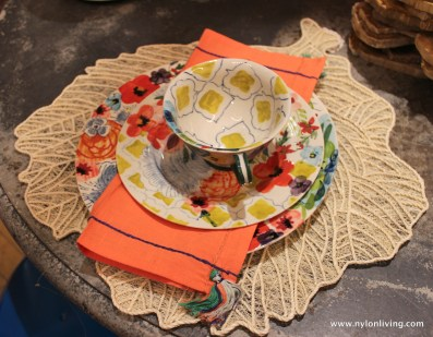 Coral and taupe place setting