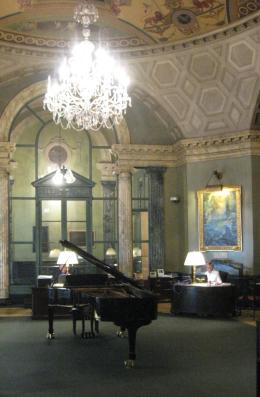 The rotunda inside Steinway & Sons retail space at 109 West 57th Street in Manhattan. Image Credit: CityLand.