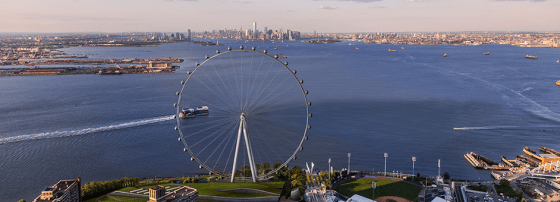 Conceptual rendering of view of the New York Wheel and New York Harbor. Image Credit: NYCEDC.