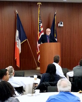 Patrick J. Foye delivering his speech at the November 20th City Law Breakfast. Photo Credit: Libi Adler.