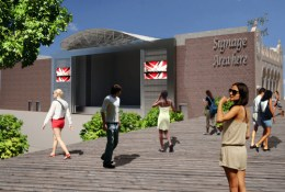 Rendering of entrance to Seaside Park & Community Arts Center theater. Image courtesy of: GKV Architects.