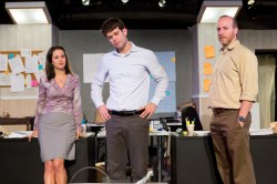 Kate (Laura Bozzone), Chris, and George (Joe Danbusky) have to make decisions as the day goes on. (Image Credit: The Storm Theatre Company)