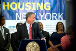 Mayor Bill de Blasio announced the financing of 17,300 units of affordable housing. Image credit: Mayoral Photography Office