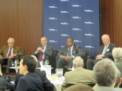 (l. to r.) Fritz Schwarz, Michael Cardozo, Zachary Carter, and Paul Crotty discuss challenges during their tenure as New York City Corporation Counsel.  Image credit:  CityLand