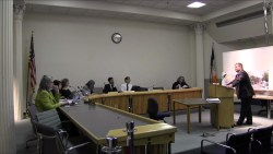 Jordan Most testifies before the Board of Standards and Appeals. Image credit: BSA