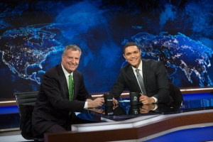 Mayor Bill de Blasio with Trevor Noah on the Daily Show. Image credit: Michael Appleton/Mayoral Photography Office