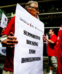 Campaign 4 NY/NY coalition rallies in support of a Statewide supportive housing agreement. Image credit: Campaign 4 NY/NY