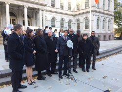 City Council Members and the Public Advocate at a rally on Nov. 22, 2016. Image Credit: Council Member Stephen Levin.