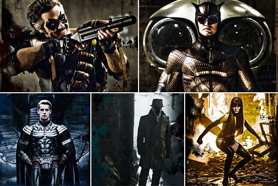 The human heroes of Watchmen: The Comedian, Nite Owl II, Ozymandias, Rorshach, and Silk Spectre II