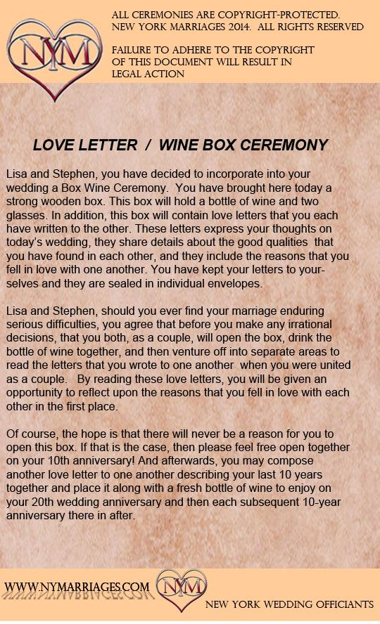 Sample Love Letter Wine Box Ceremony  Unique Wedding Ceremony Ideas  Unity candle alternative