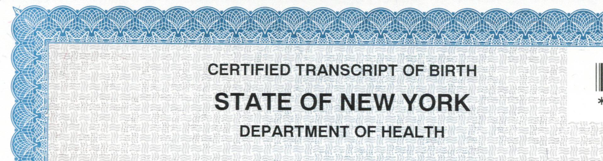 New York State Birth Certificate Apostille Notary Apostille