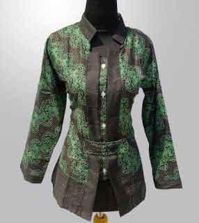 model baju batik atasan wanita kantor elegan