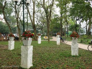 A nice park to stroll, do you notice the fake flowers?