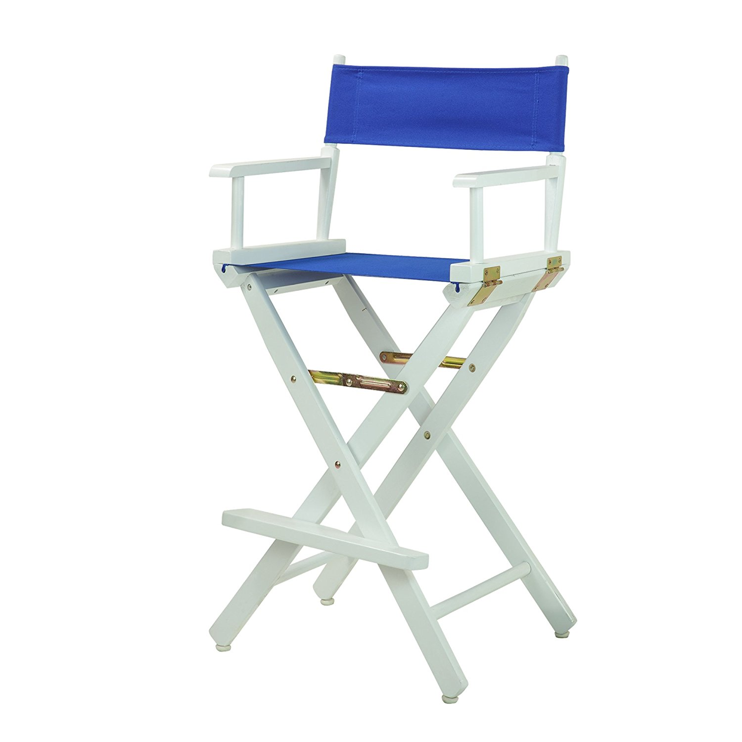 Folding Director Chair Bar Stools Directors Chairs Royal Blue With White Wood Frame