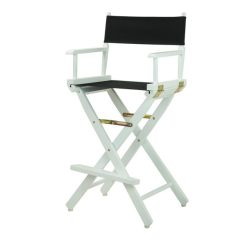 Directors Chair Bar Stool Folding Lawn Lounger Stools Chairs Black With White Wood Frame Party