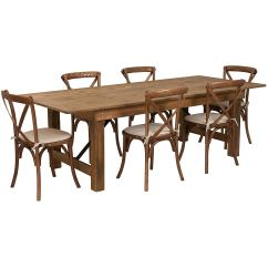 Rustic Farm Table And Chairs Chiavari Wholesale With 6 Cross Back Burlap