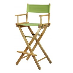 Directors Chair Bar Stool Riser Recliner Chairs For The Elderly Reviews Stools Natural Frame Canvas Height Lime Green