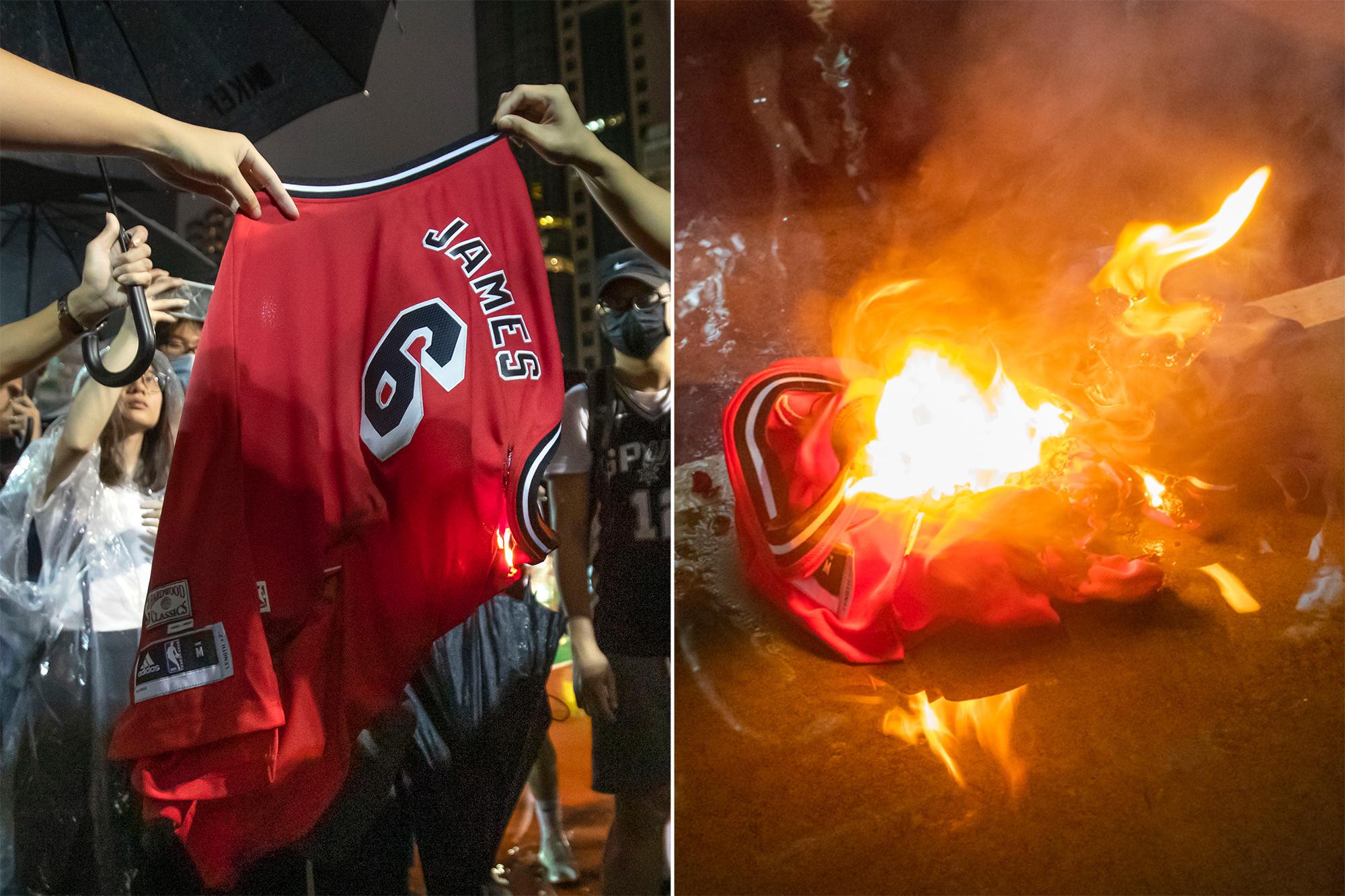 lebron james jersey burning