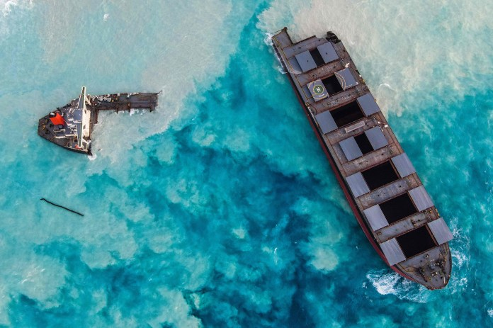 Japanese ship involved in Mauritius oil spill breaks apart