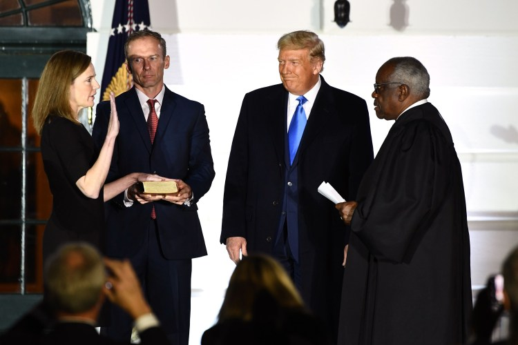 Supreme Court Justice Amy Coney Barrett sworn in at White House