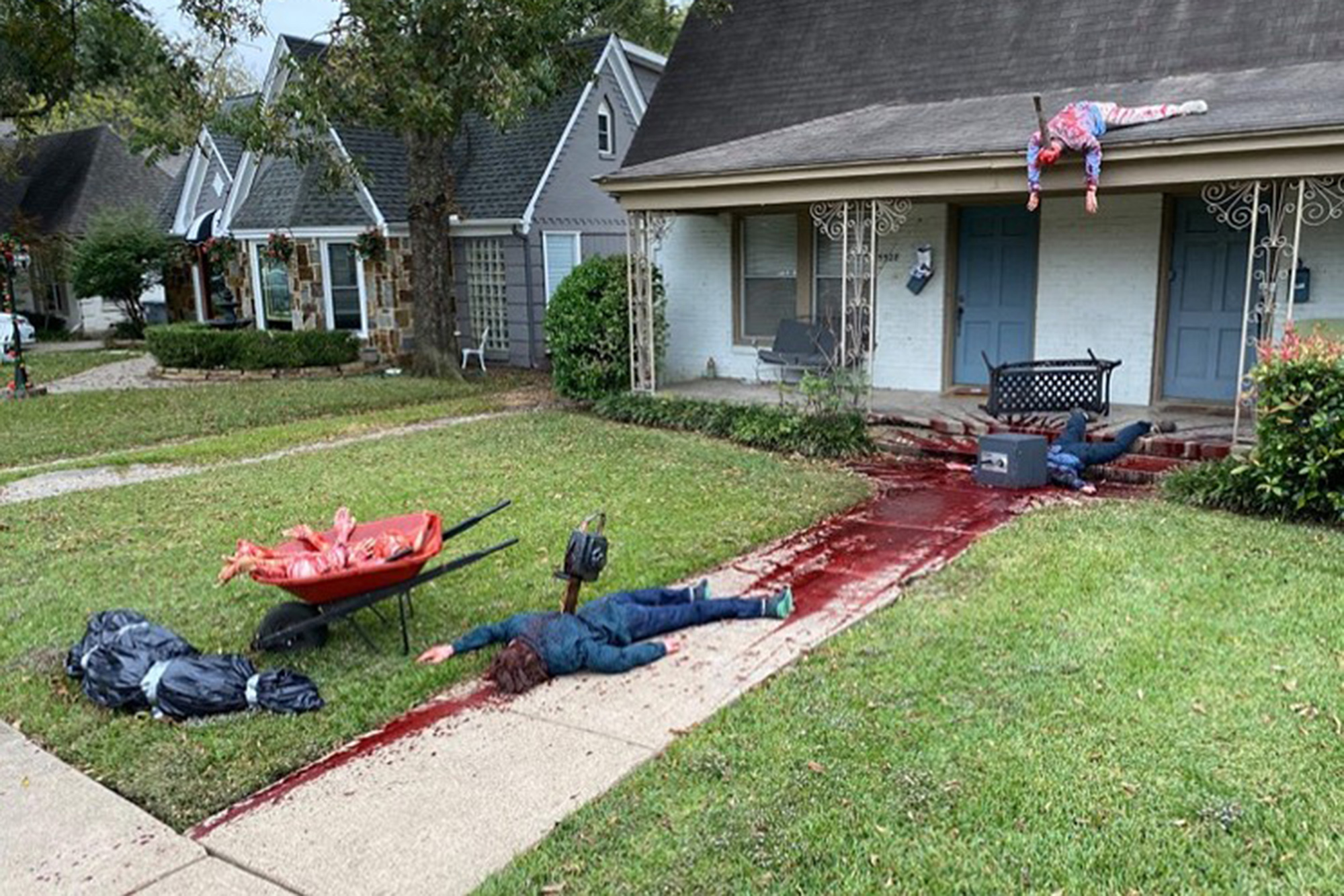Bloody Halloween display keeps bringing cops to artist's home