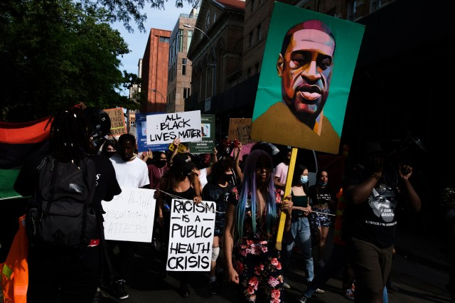 People march during a Black Lives Matter protest after the death of George Floyd in New York City.