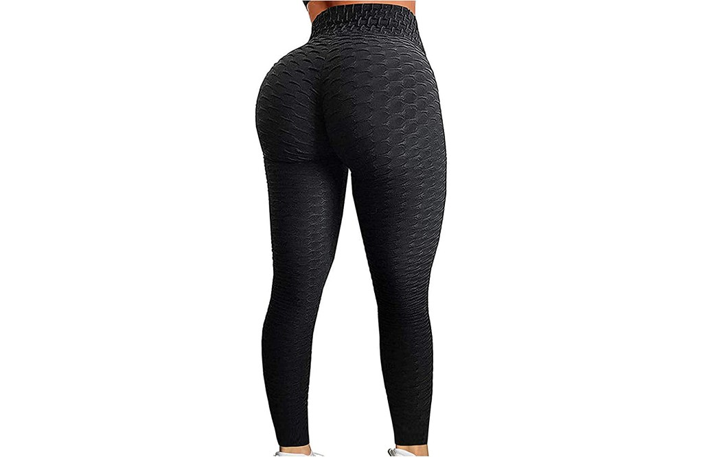 A woman with a large butt in black leggings