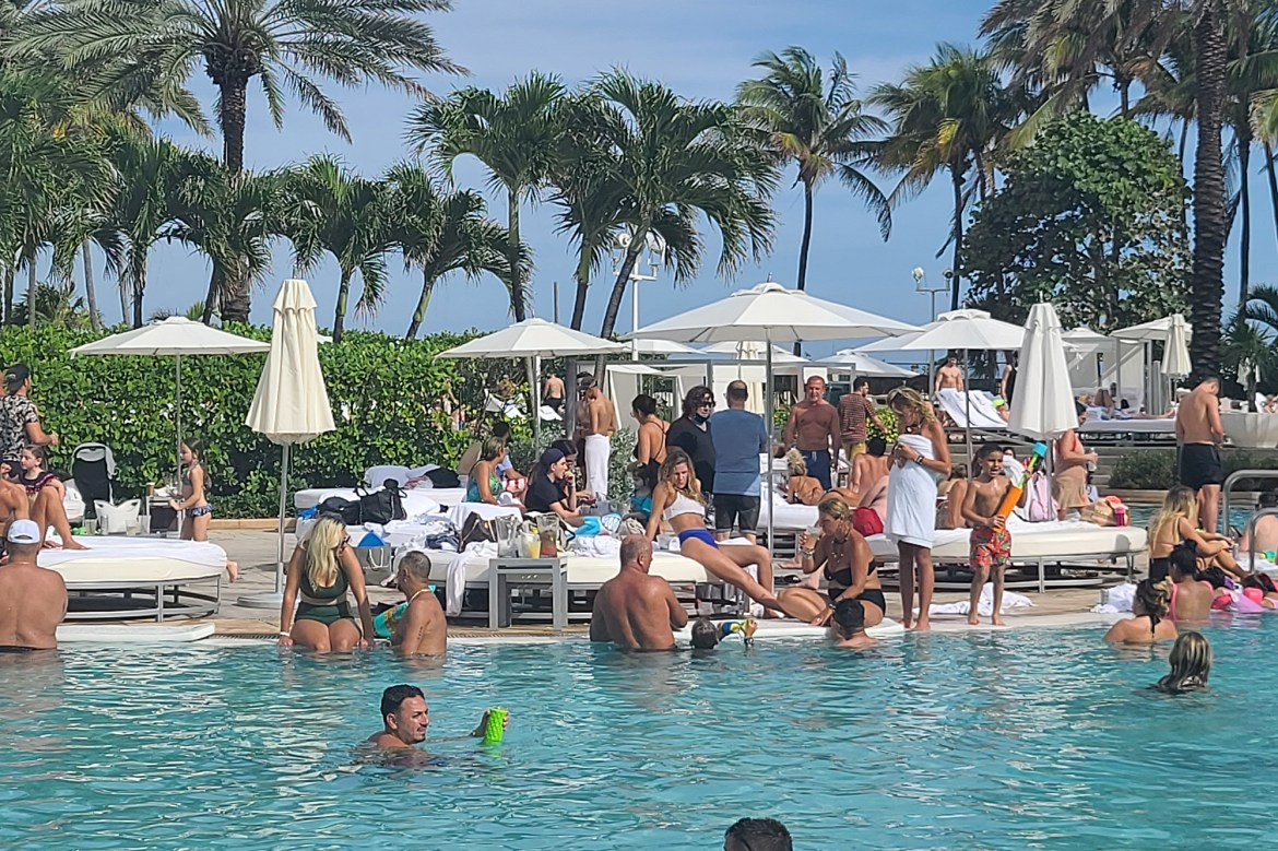 Heavy daytime partying continues in Miami as Covid-19 surges continue to break records in the US
