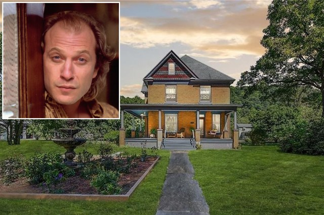 "The dimly lit, wallpapered house, where Buffalo Bill (Ted Levine, inset) skins his victims in ""Silence of the Lambs,"" has sold for $290,000."