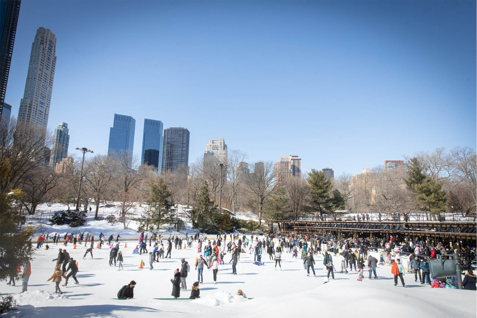 People ice skating at Wollman Rink in Central Park on February 21, 2021.