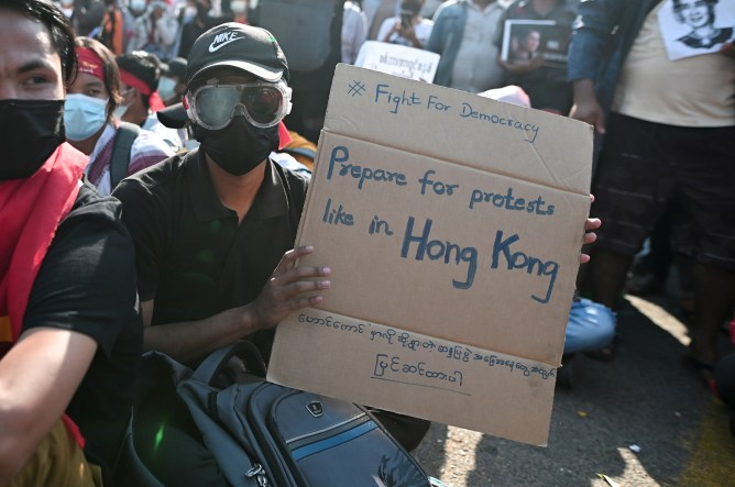 Myanmar protesters inspired by Hong Kong and Thailand