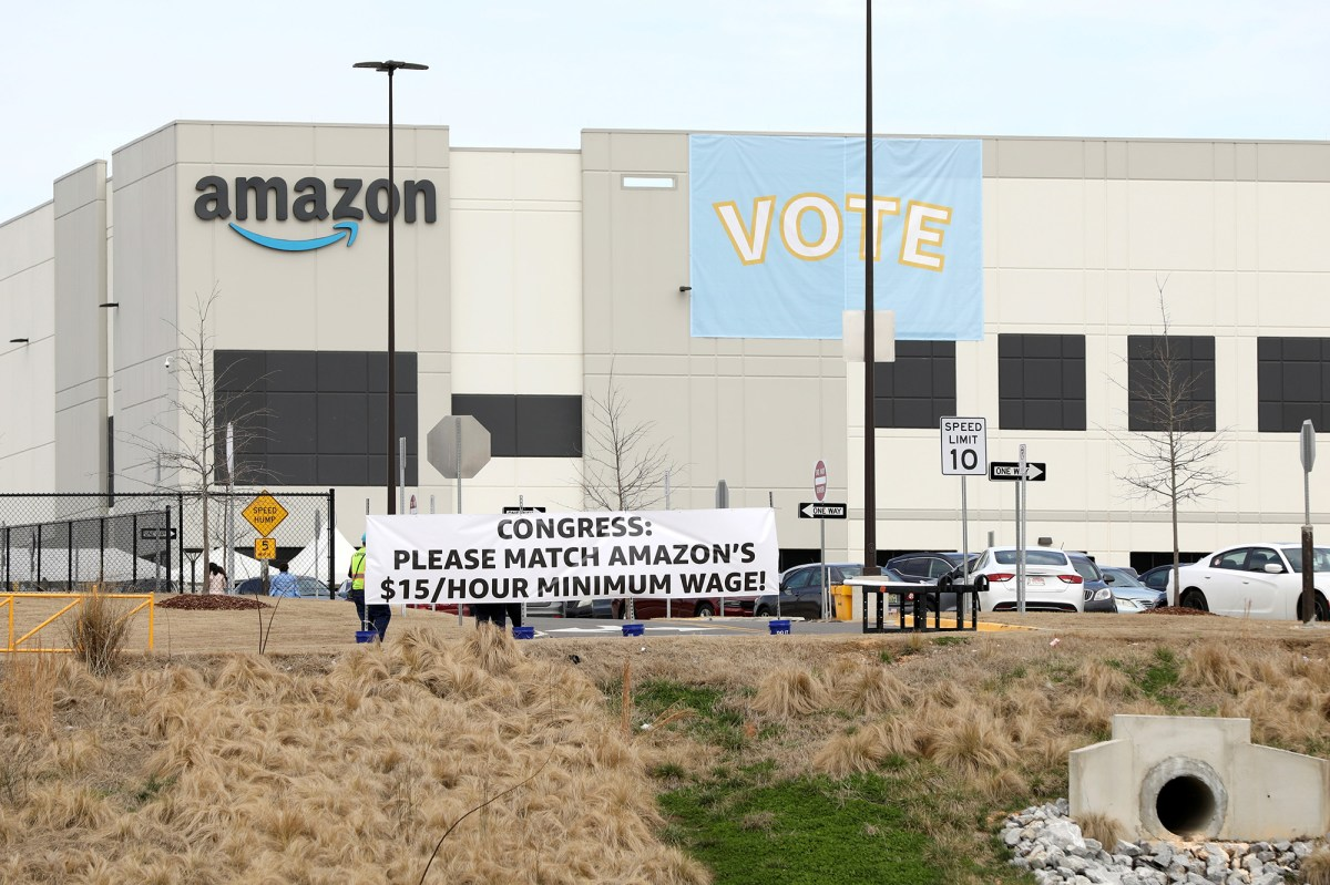 Banners will be displayed at the Amazon facility when members of a congressional delegation arrive to demonstrate their support for workers who will vote on union formation on March 5, 2021 in Bessemer, Alabama, USA.