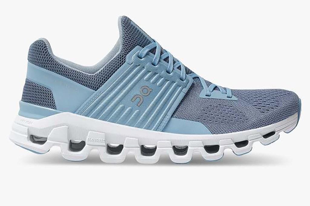 A blue sneaker