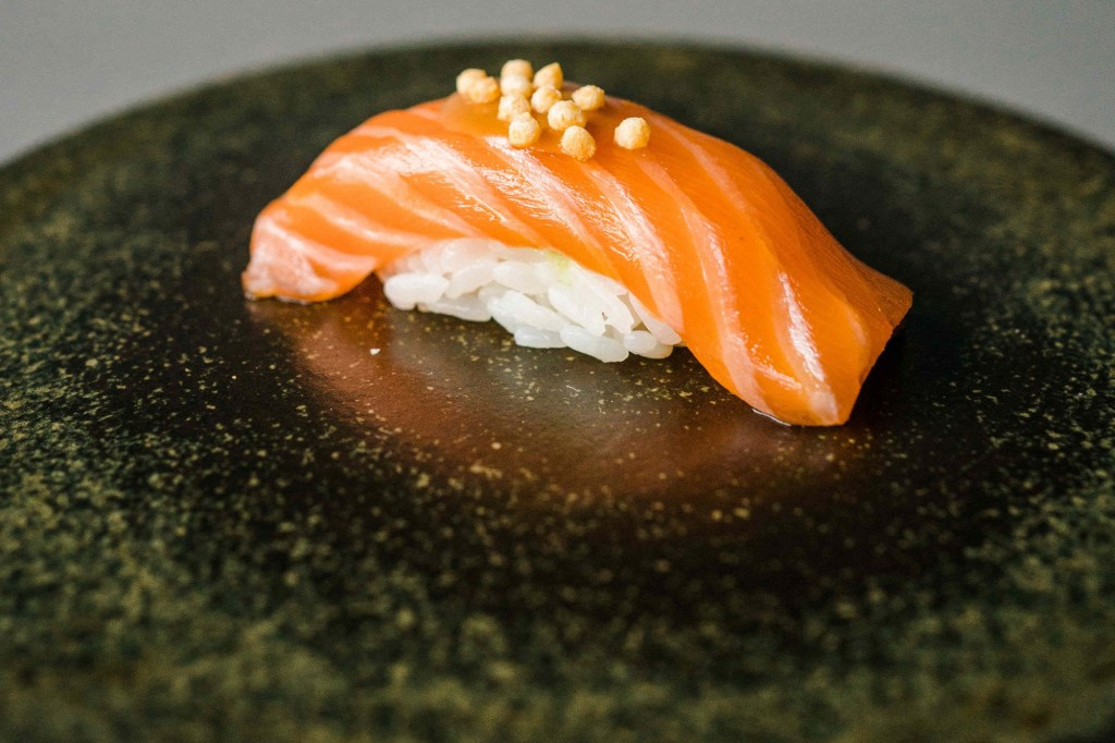 The omakase at Kissaki includes sushi pieces such as salmon with miso sauce.
