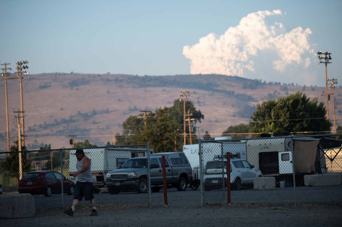 People are evacuating due to an Oregon forest fire as the extreme heat continues