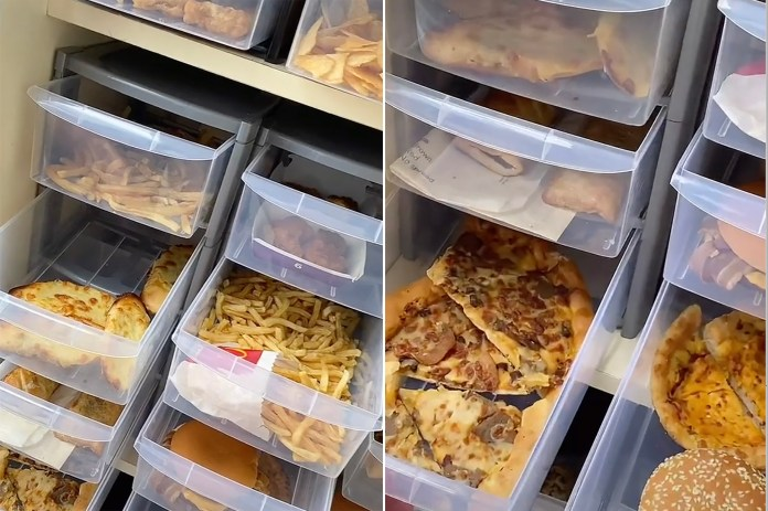 Woman reveals large pantry full of fast foods that don't rot