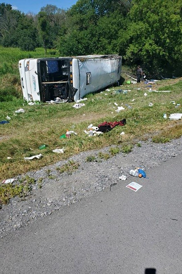 A tourist bus headed to Niagara Falls rolled over on the New York State Thruway.