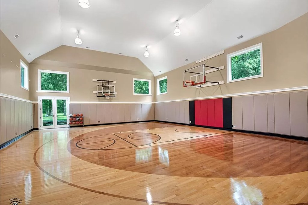 The full-sized basketball court.
